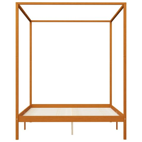 shumee Posteljni okvir z baldahinom medeno rjav iz borovine 180x200 cm