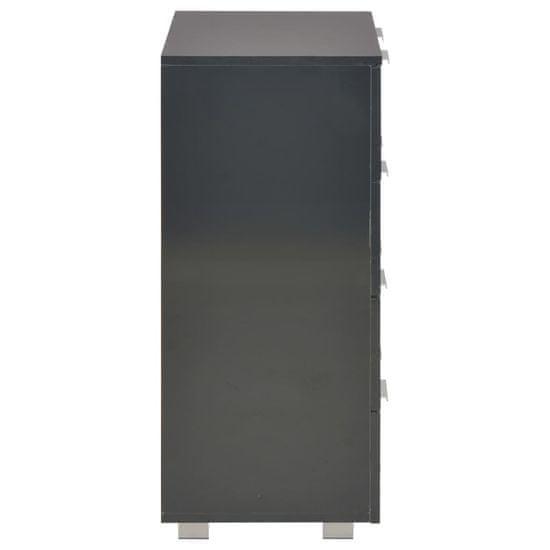 shumee Komoda, vysoký lesk, čierna 60x35x76 cm, drevotrieska