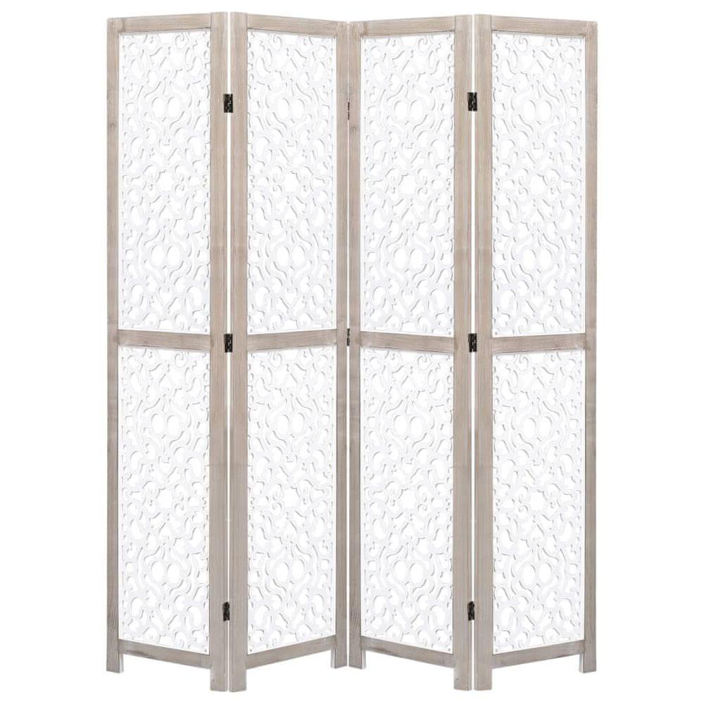 4dílný paraván bílý 140 x 165 cm masivní dřevo