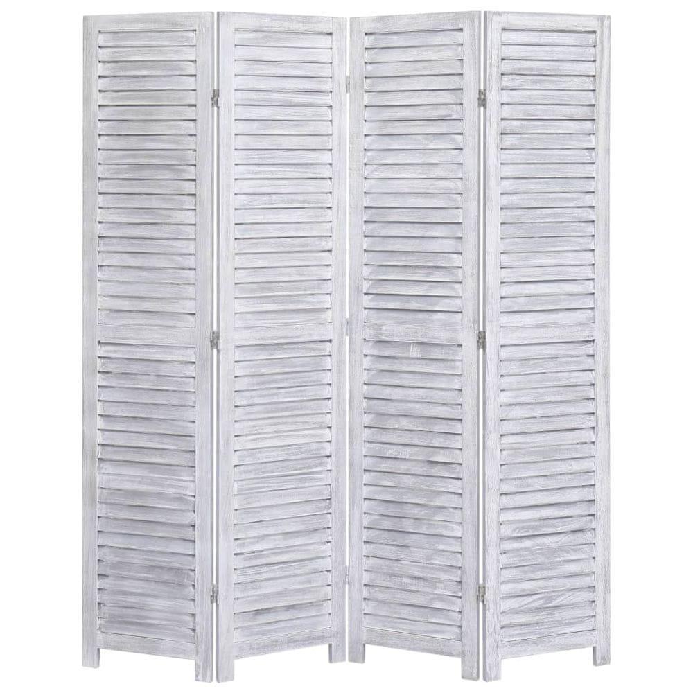 4dílný paraván šedý 140 x 165 cm dřevo