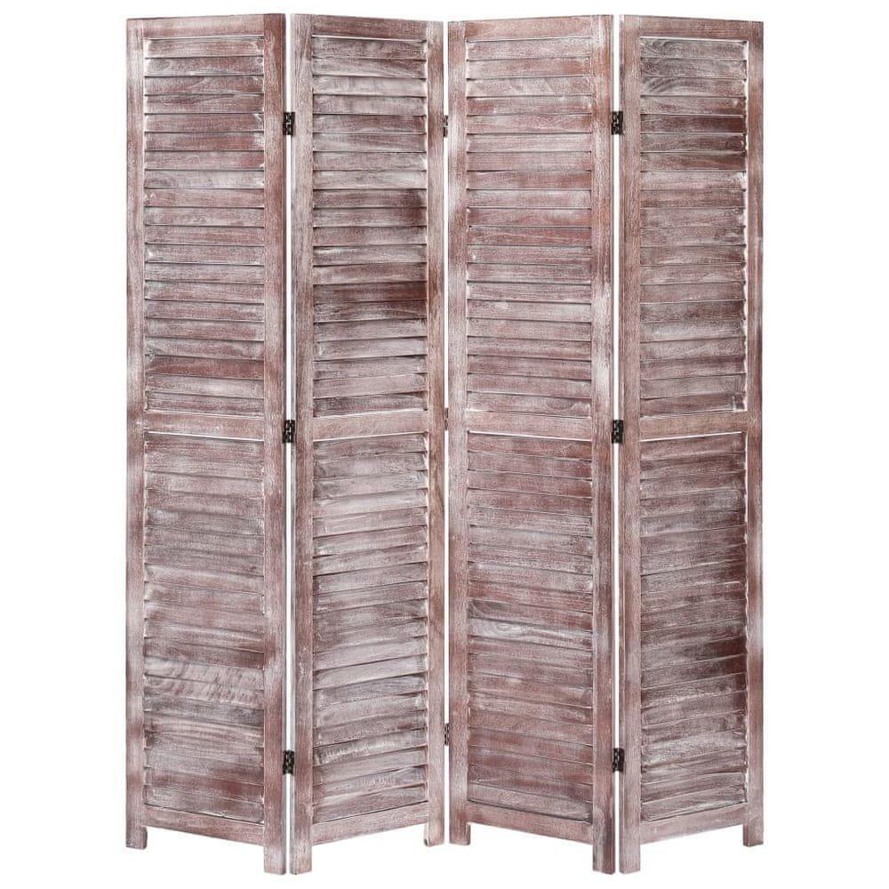 4dílný paraván hnědý 140 x 165 cm dřevo
