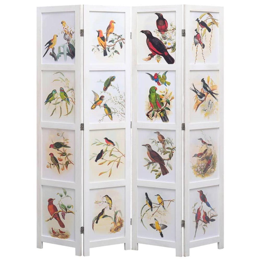 4dílný paraván bílý 140 x 165 cm ptáci