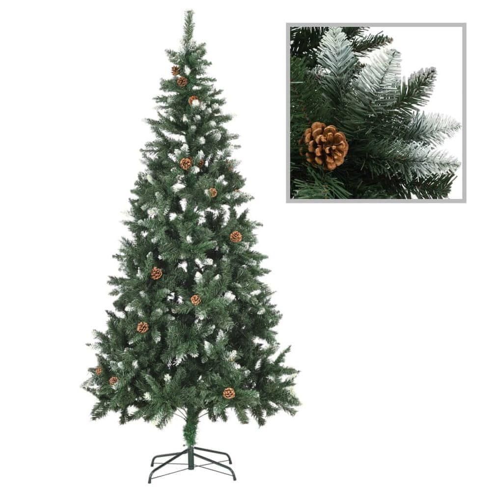 Umělý vánoční stromek se šiškami a bílými třpytkami 210 cm