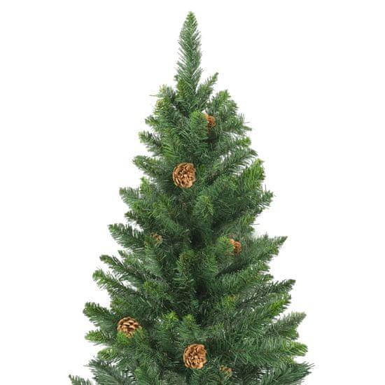 Greatstore Umelý vianočný stromček s borovicovými šiškami zelený 180 cm