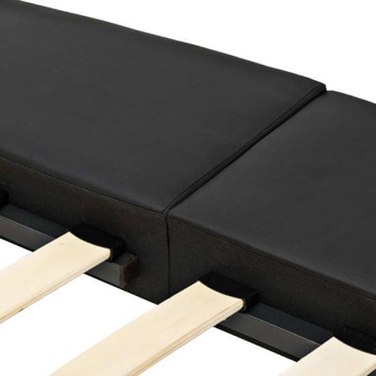 shumee Posteljni okvir črno umetno usnje 180x200 cm