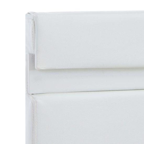 shumee Posteljni okvir LED belo umetno usnje 140x200 cm