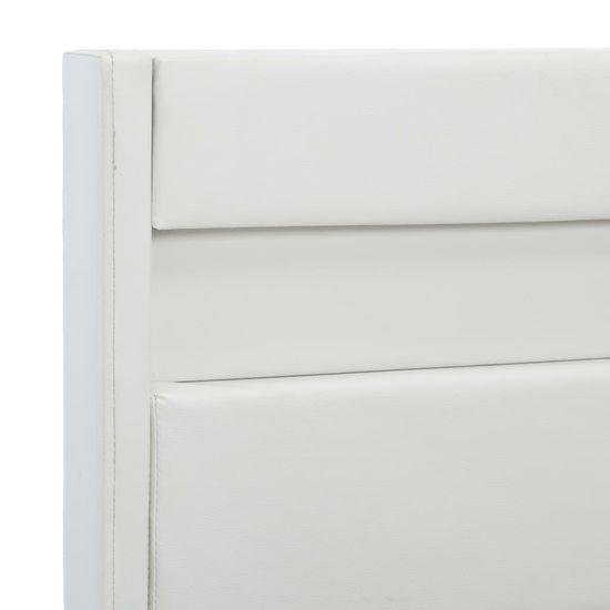 shumee Posteljni okvir LED belo umetno usnje 90x200 cm