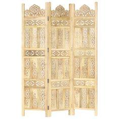 shumee 3-paneles tömör mangófa kézzel faragott térelválasztó 120x165cm