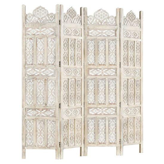 shumee 4-paneles fehér mangófa kézzel faragott térelválasztó 160x165cm