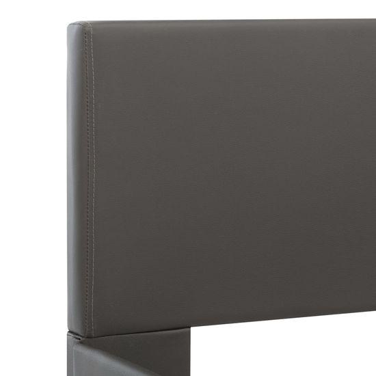 shumee Posteljni okvir LED sivo umetno usnje 140x200 cm