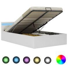 shumee Hydraulický posteľný rám+úložný priestor, LED, umelá koža 140x200 cm