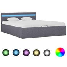 shumee Hydraulický posteľný rám+úložný priestor, LED, látka 140x200 cm