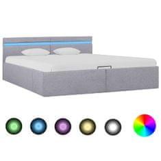 shumee Hydraulický posteľný rám+úložný priestor, LED, látka 180x200 cm