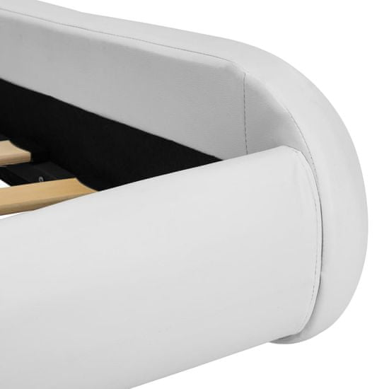Greatstore Posteljni okvir LED belo umetno usnje 90x200 cm