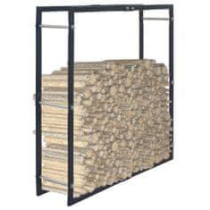 shumee Stojalo za drva črno 100x25x100 cm jeklo