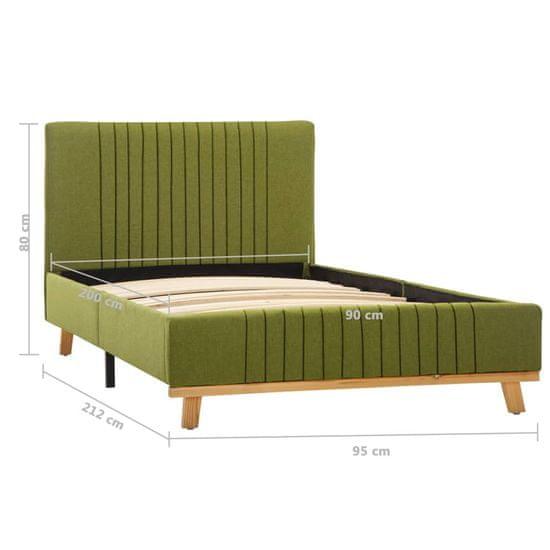 shumee Posteljni okvir zeleno blago 90x200 cm
