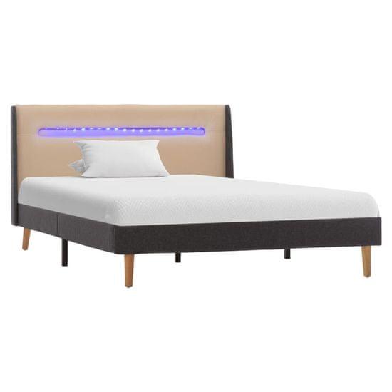 shumee Posteljni okvir z LED osvetlitvijo krem blago 120x200 cm