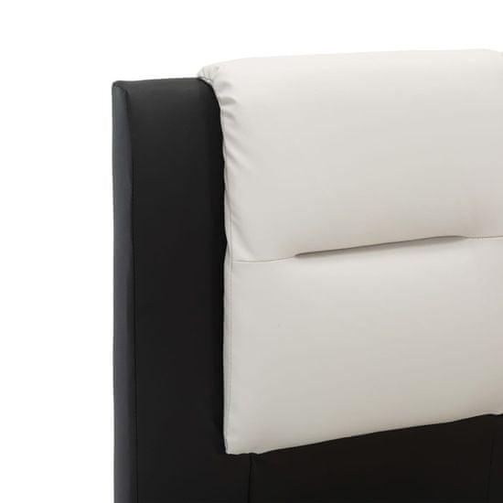 shumee Posteljni okvir črno in belo umetno usnje 90x200 cm