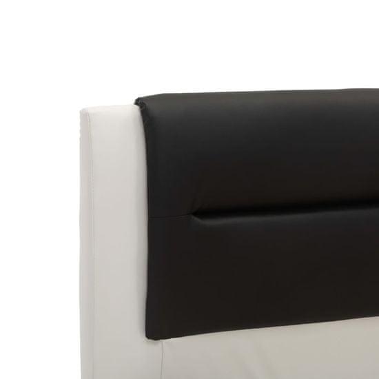 shumee Posteljni okvir belo in črno umetno usnje 140x200 cm