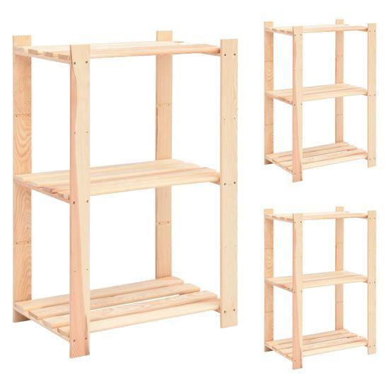 shumee Regały z 3 półkami, 3 szt., 60x38x90 cm, sosna, 150 kg