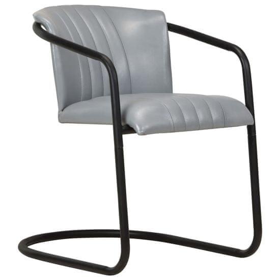 shumee Jedilni stoli 4 kosi sivo pravo usnje