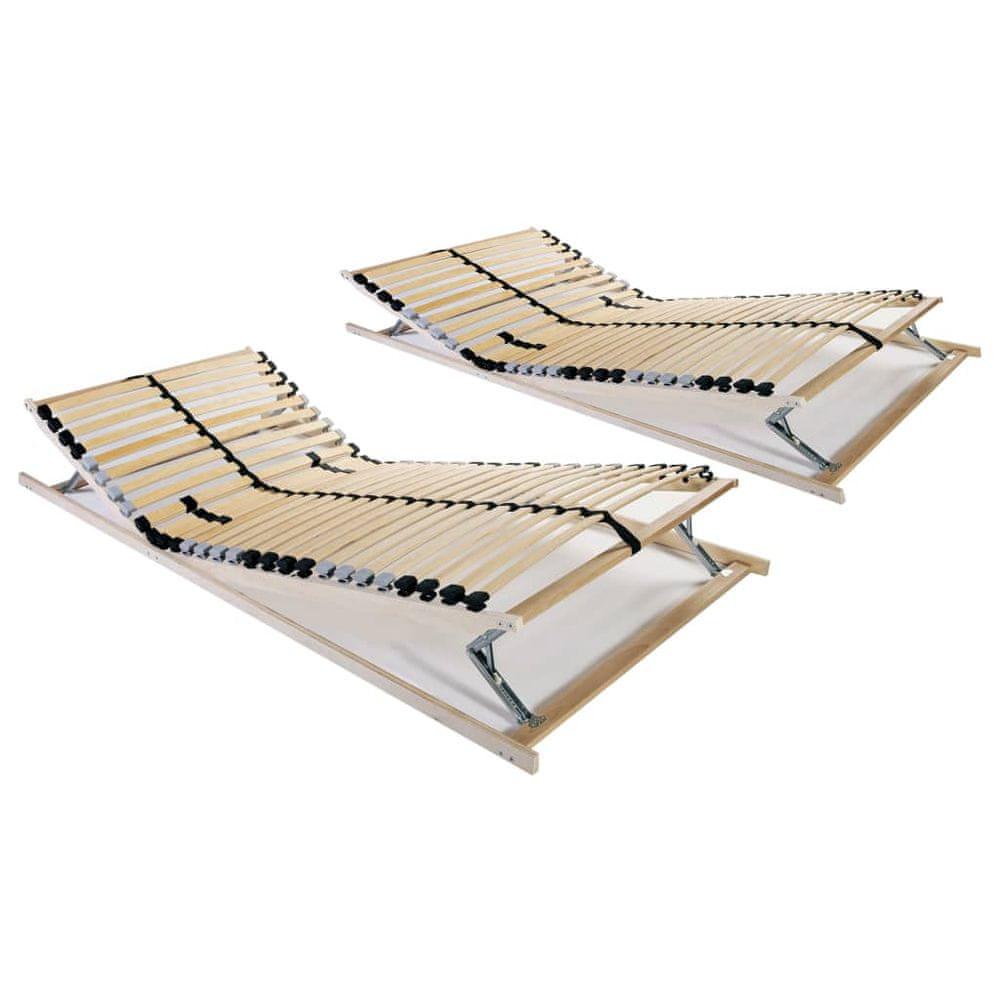Lamelové rošty do postele 2 ks 28 lamel 7 zón 90 x 200 cm