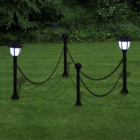 shumee Ograja iz verig z dvema LED solarnima lučkama in dvema stebroma