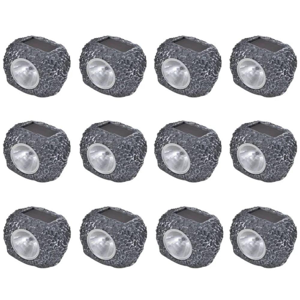 Venkovní solární LED bodovky ve tvaru kamene 12 ks