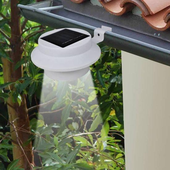 shumee Zunanji Set Solarnih Svetilk za Ograjo / Žleb 6 kosov, Bele Barve