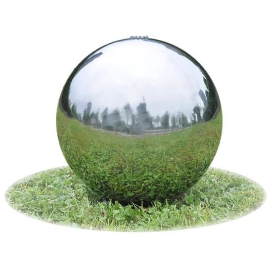 shumee Vrtna fontana krogla z LED lučkami nerjaveče jeklo 40 cm