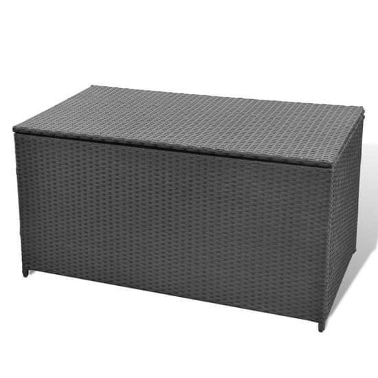shumee Záhradný úložný box čierny 120x50x60 cm polyratanový