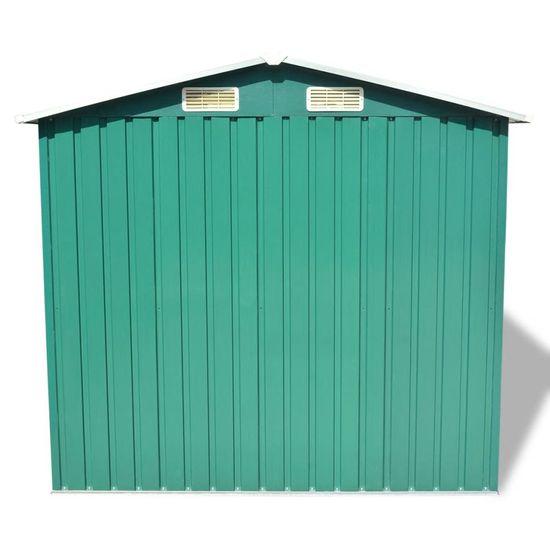 shumee Vrtna skladiščna lopa zelena kovinska 204x132x186 cm
