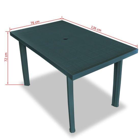 shumee zöld műanyag kerti asztal 126 x 76 x 72 cm