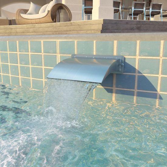 shumee Vodni slap za bazen iz nerjavečega jekla 30x9x26 cm srebrn