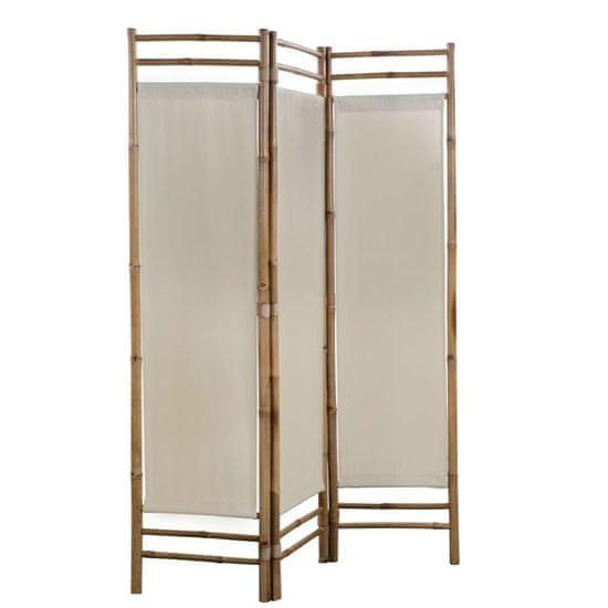 shumee 3 paneles bambusz/vászon paraván 120 cm