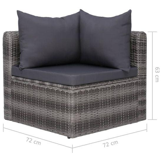 shumee Vrtna sedežna garnitura z blazinami 4-delna poli ratan siva