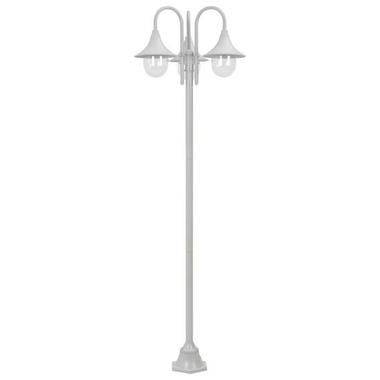 shumee Vrtna ulična svetilka E27 220 cm aluminij 3 žarnice bela