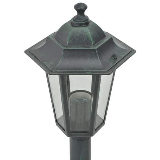shumee Vrtne ulične svetilke 6 kosov E27 110 cm aluminij temno zelene