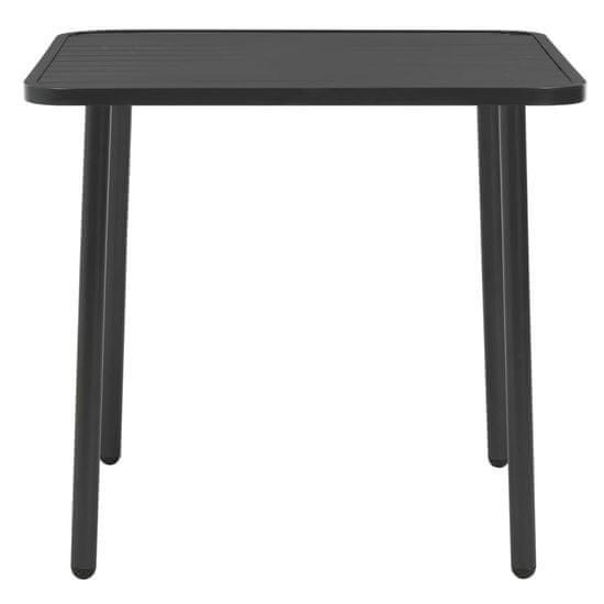 shumee Vrtna miza temno siva 80x80x72 cm jeklo