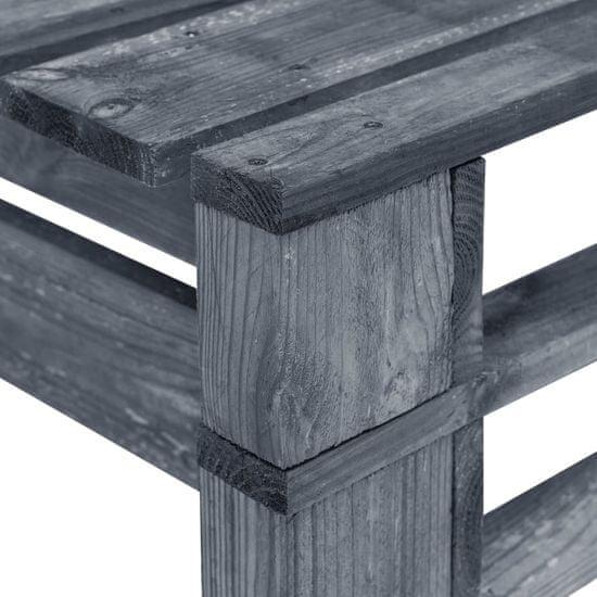 Greatstore Záhradná lavička z paliet, drevo, sivá
