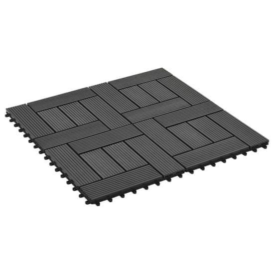 shumee 11 db (1 m2) fekete WPC teraszburkoló lap 30 x 30 cm