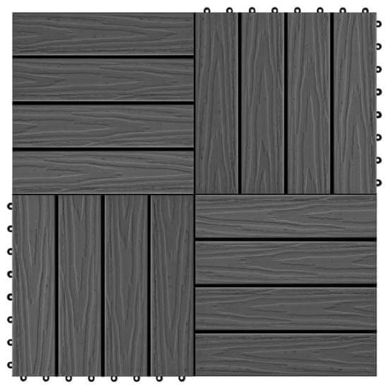 shumee 11 db (1 m2) fekete dombornyomott WPC burkolólap 30x30 cm