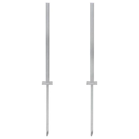 shumee 2 db ezüstszínű acél lábazat (pótelem), 115 cm
