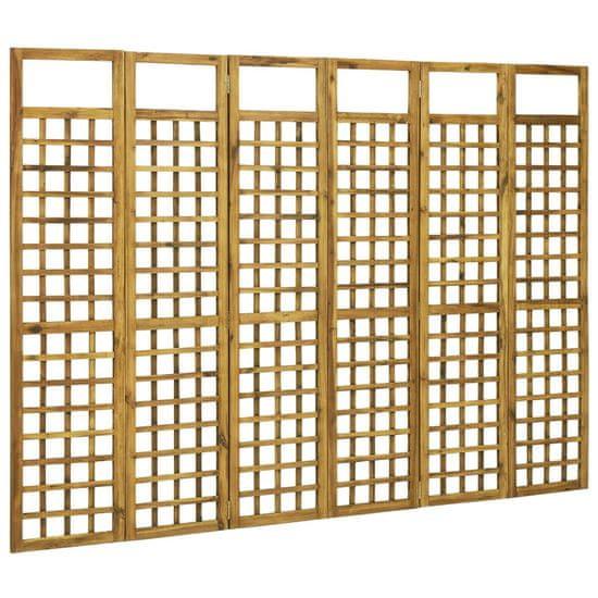 shumee 6-panelni paravan/mreža iz lesa akacije 240x170 cm