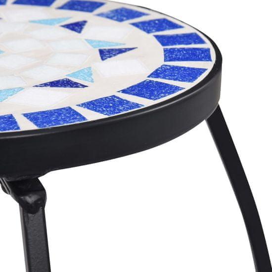 shumee 3 darab kék és fehér kerámia mozaikos asztal