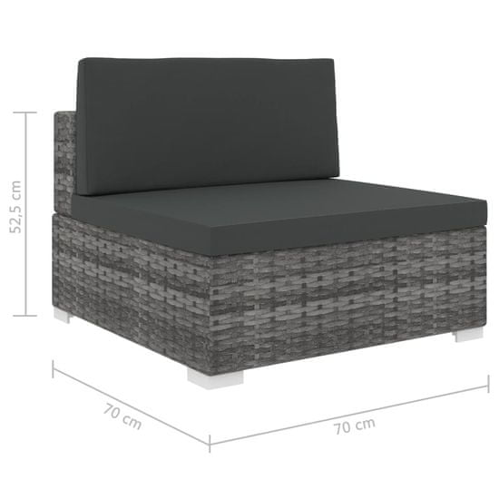 shumee Sekcijski sredinski sedež 1 kos z blazinami poli ratan siv