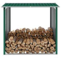 shumee Vrtna lopa za drva pocinkano jeklo 172x91x154 cm zelena