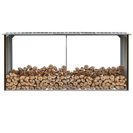 shumee Vrtna lopa za drva pocinkano jeklo 330x92x153 cm rjava