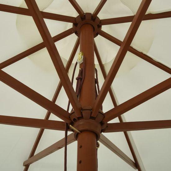 shumee Parasol ogrodowy na drewnianym słupku, 330 cm, piaskowa biel