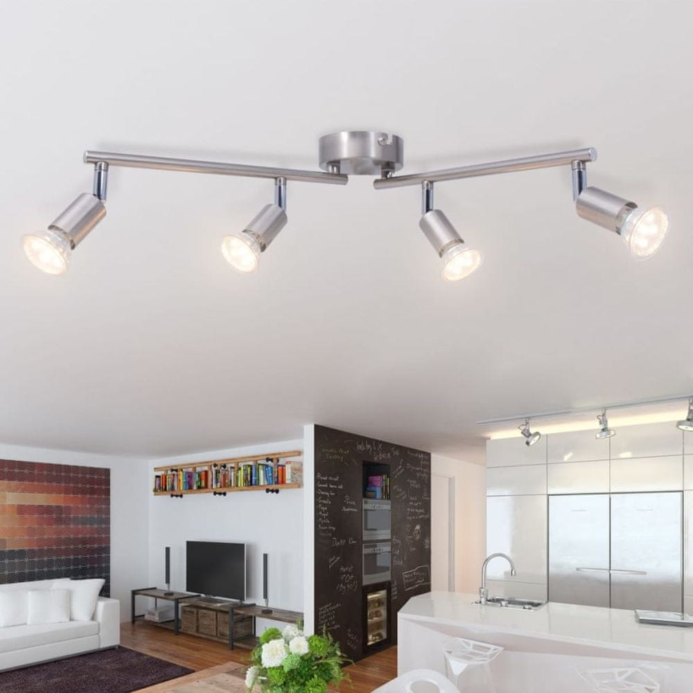 Stropní svítidlo se 4 LED bodovkami, saténový nikl